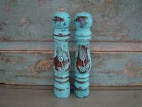 Turquoise Salt Shaker and Pepper Grinder Mill Distressed Wood $16