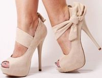 """Wedding shoes! $27.53 and they are my size =) 5.5""""Stiletto Heel Pump Prisella Stone Suede"""