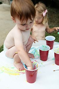 Paint for babies - flour, water, food coloring