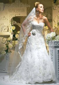 A-Line Strapless/ Sweetheart Floor Length Attached Lace/ Satin Beading Wedding Dress Style T331LOVE the MANTIA