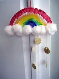 simple rainbow and gold coin craft