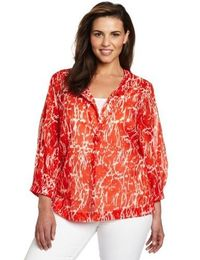 Kenneth Cole Women's Plus-Size Abstract Crackle Print Blouse