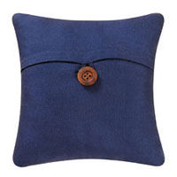 Navy blue feather down filled throw pillow with a button accent.