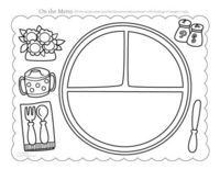 Place mat - print 2x laminate one and velcro and cut out the plate, knife, spoon, fork, excellent matching etc