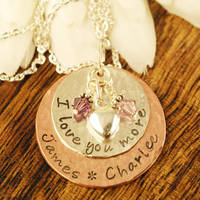 Hand Stamped Personalized Necklace - I Love You More from etsy.com