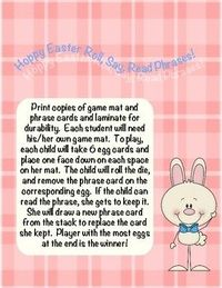 Easter themed version of the kid-approved Roll, Say, Read game! Roll, Say, Read is a great way to provide fluency practice in a fun format. This ...
