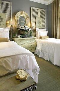 Guest Room with shutters, love these colors