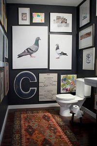 Floor to Ceiling wall art in powder room