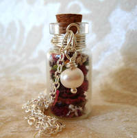 Glass Vial Necklace Glass Bottle Necklace Make a Wish Necklace with Tiny Dried Organic Roses and Freshwater Pearl - 20 inches from etsy.com
