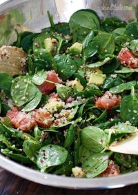 Spinach and Quinoa Salad with Grapefruit and Avocado - also going to try this with orange or tangerine instead of grapefruit!