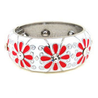 White with Red Flower Bangle