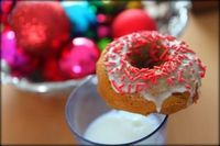 Baked Glazed Gingerbread Donuts. I can't wait to make these when we decorate our tree this year.