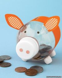 up-cycle old bottles into piggy banks