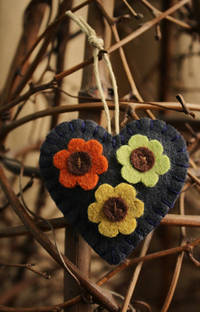 flower love heart wool felt ornament decoration dark blue with multi colored flo...