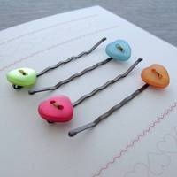 Button Hair Clip Notecard Gift Sets Love Hearts