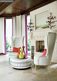 Great chairs, nice clean lines, lots of light, and fun color accents.