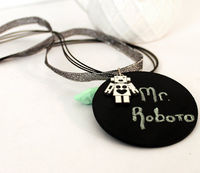 Geeky Robot Necklace Chalkboard