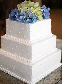square cake with texture and blue hydrangeas