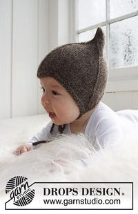 Free Drops knitting pattern on Ravelry, a sort of pixie helmet with tie.