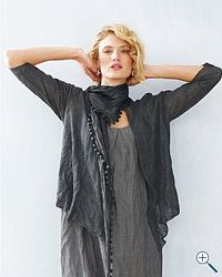 linen woven with finely spun steel - crinkles! Make this! find out how to get yarn
