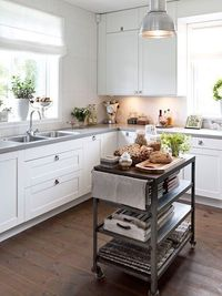 Kitchen with concrete counters.