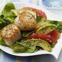 Seared Scallops with Red Grapefruit-Avocado Salad