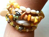 yellow coil bracelet beaded jewelry wrap by CardenCreations