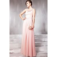 2012 Pink One-shoulder Chiffon A-line Evening Party Dress-bee