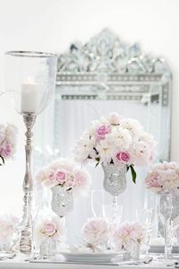 Beautiful #pink #roses in #silver #vases
