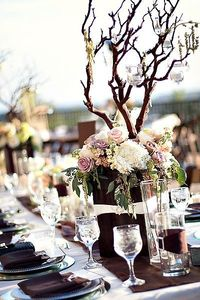 hydrangea, roses, and branches