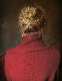 Fishtail braid and messy bun.