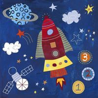 "I plan to do a ""Space"" theme art unit with my early grades. Don't you love this print from Lesley Grainger?"