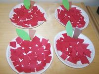 paperplate apples- easy but cute- tissue paper would be fun too