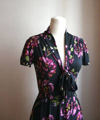 Printed Secretary Dress with Front Wrap Ties in Silky Smooth Jersey, Purple Black Foral, Other Prints Available - KELLY from etsy.com