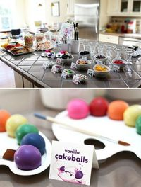 Colorful cake-ball palates.
