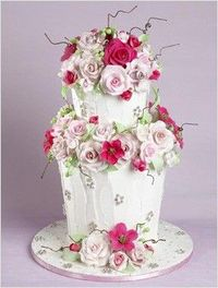 pretty two tiered wedding/shower cake with gumpaste roses