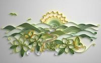 sun rising over the hills quilling