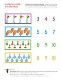 Free printable preschool and kindergarten worksheets for early childhood development of math skills and number awareness.