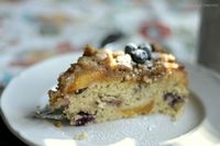 Blueberry Peach Nectarine Coffee Cake: Blueberries and roasted peaches and nectarines macerated in Peach brandy and thrown into a coffee ca...[read more at Food Frenzy]
