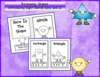 """Shape & Sight word booklet, """"Here Is the Shape"""" (for Kindergarten)"""