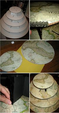 DIY Map-Inspired Cupcake Tier tutorial (You could also use books, music, etc.)