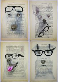 puppies on paper with glasses!