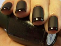 French polish with black matte base and gloss tips