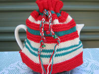 Hand Knitted Christmas Red White and Green Tea Cosy/Cozy - Vintage Style for your Teapot from etsy.com