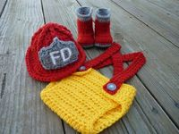 crochet firefighter newborn outfit