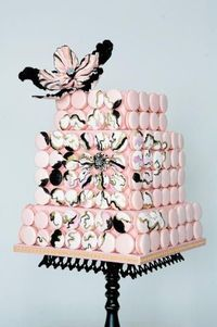 #Pink #Macaron #Wedding #Cake with a gorgeous painted #sugar #flower - Swoon!