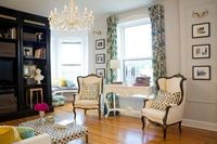 drapes, cushions, chairs-love the color combo of the fabric