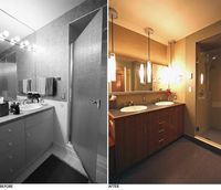 Tight double sinks right next to a wall, just like in my master bath. But interesting cabinet and lighting choices look inspiring.