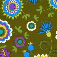 Dancing Flowers in Moss by Pillow and Maxfield 1 Yard