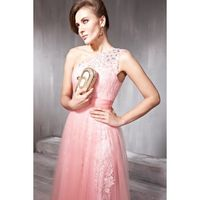 2012 Pink One-shoulder Lace Tulle A-line Party Gown Dress-bes